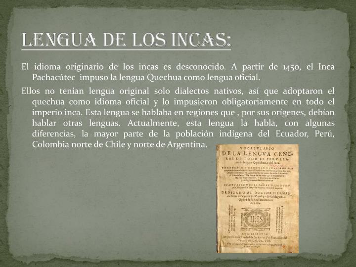LENGUA DE LOS INCAS: