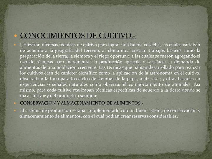 CONOCIMIENTOS DE CULTIVO.-