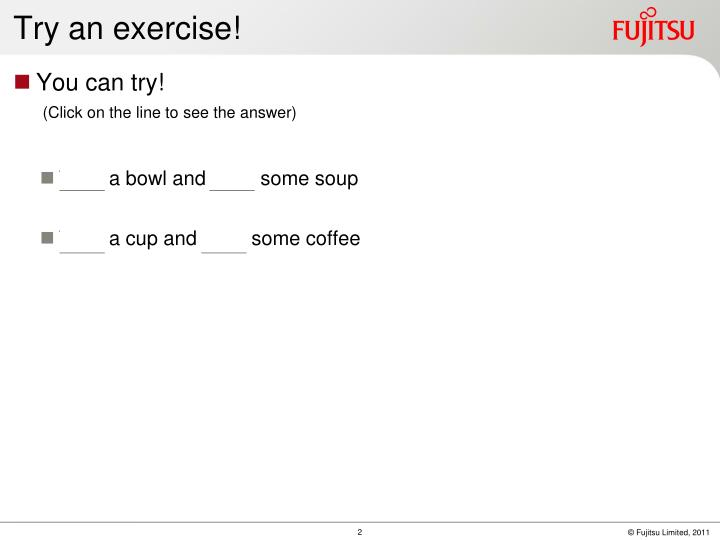 Try an exercise