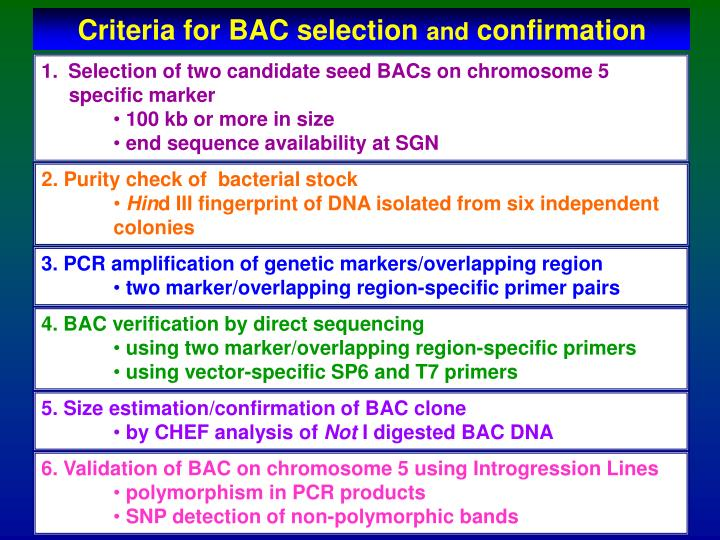 Criteria for BAC selection
