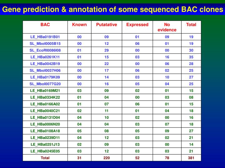 Gene prediction & annotation of some sequenced BAC clones