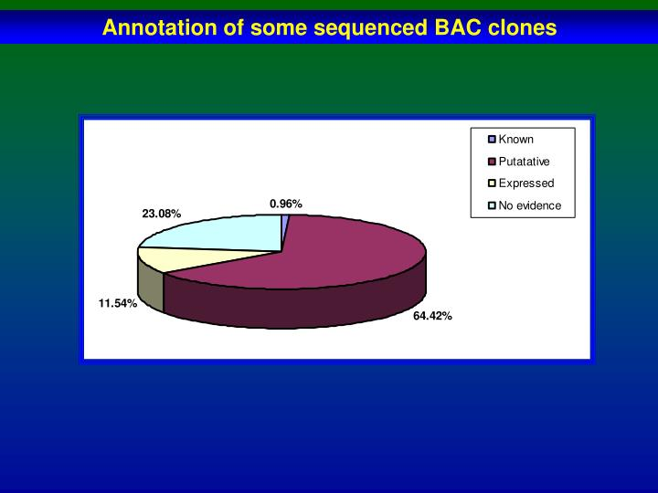 Annotation of some sequenced BAC clones