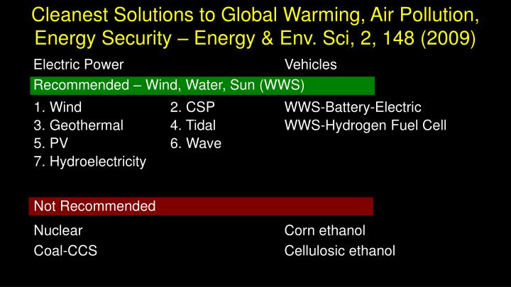 Cleanest solutions to global warming air pollution energy security energy env sci 2 148 2009