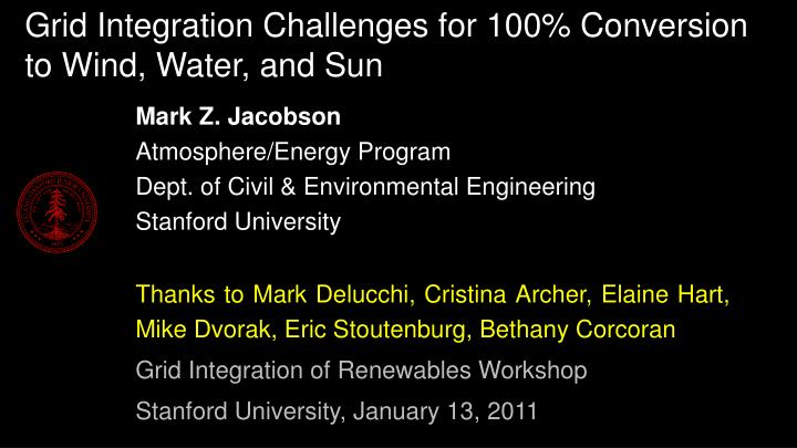 Grid integration challenges for 100 conversion to wind water and sun