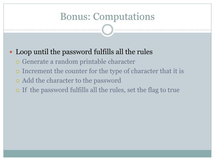 Bonus: Computations