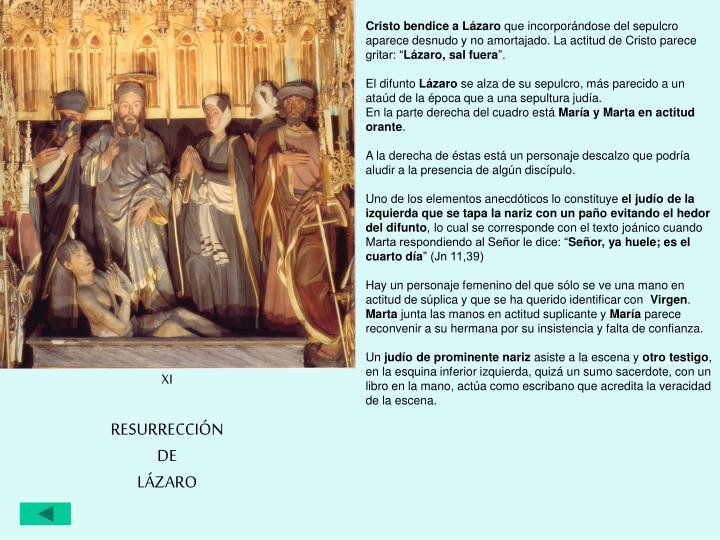 Cristo bendice a Lázaro