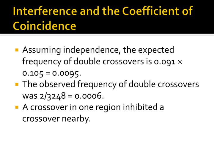 Interference and the Coefficient of Coincidence