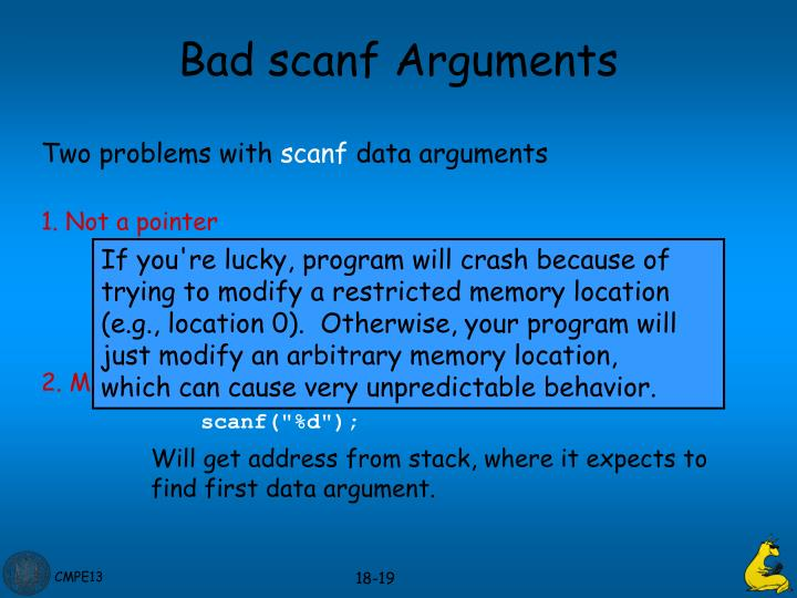 Bad scanf Arguments
