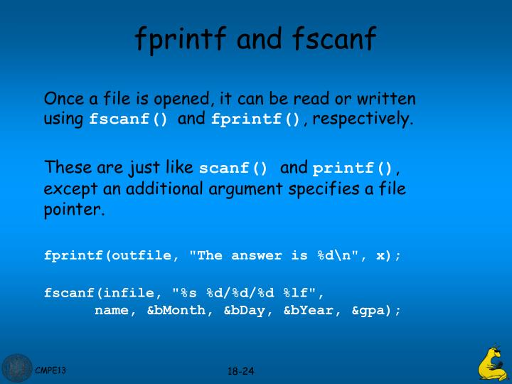 fprintf and fscanf
