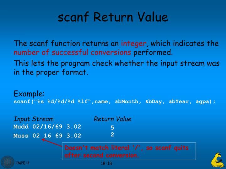 scanf Return Value