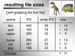resulting file sizes1