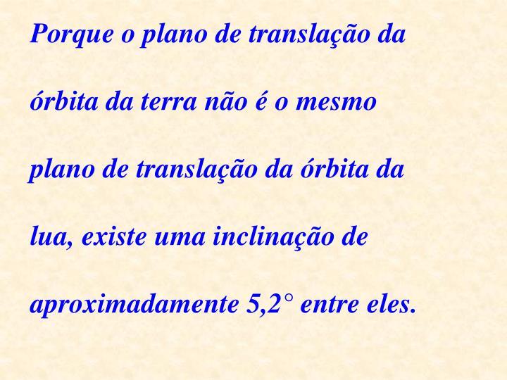 Porque o plano de translação da