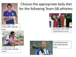 choose the appropriate daily diet for the following team gb athletes