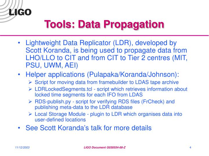 Tools: Data Propagation
