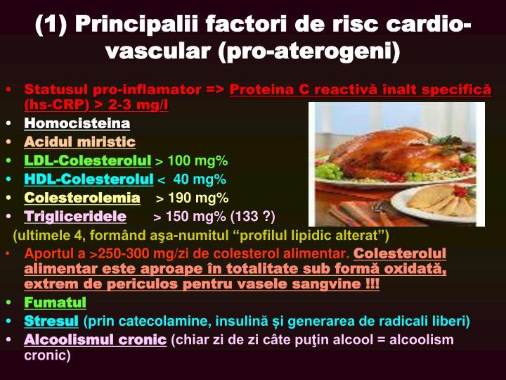 (1) Principalii factori de risc cardio-vascular (pro-aterogeni)