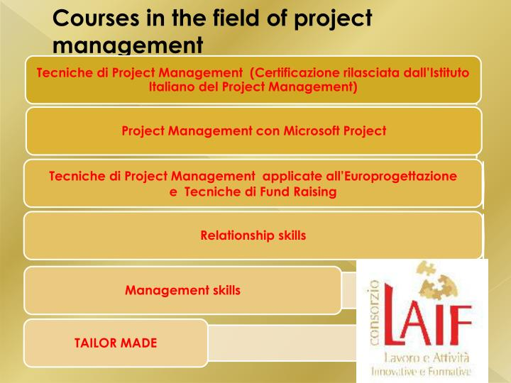 Courses in the field of project management