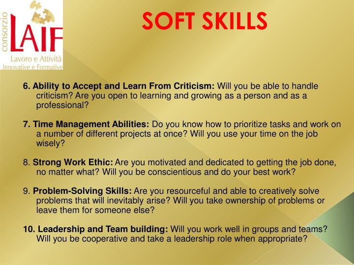 6. Ability to Accept and Learn From Criticism:
