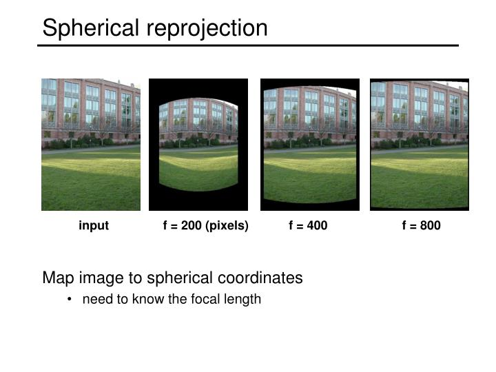 Spherical reprojection