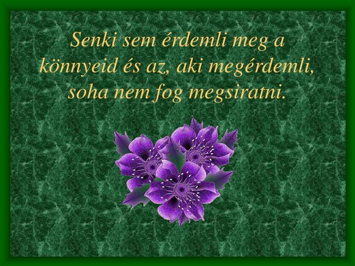 Senki sem érdemli meg a könnyeid és az, aki megérdemli, soha nem fog megsiratni.