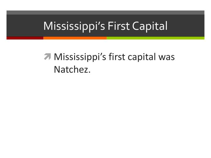 Mississippi's First Capital