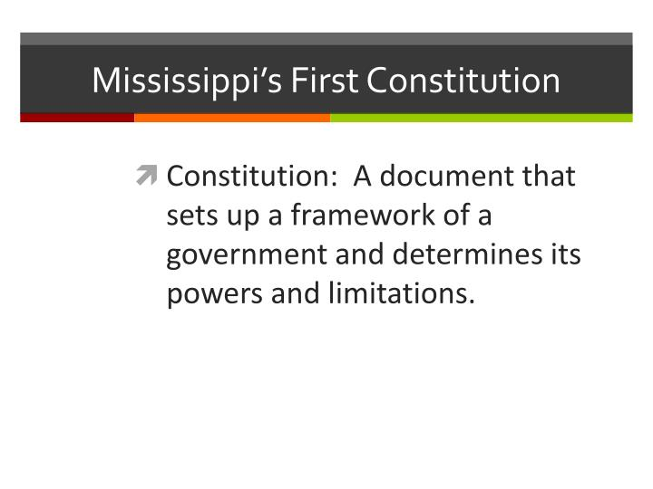 Mississippi's First Constitution
