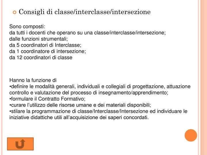 Consigli di classe/interclasse/intersezione