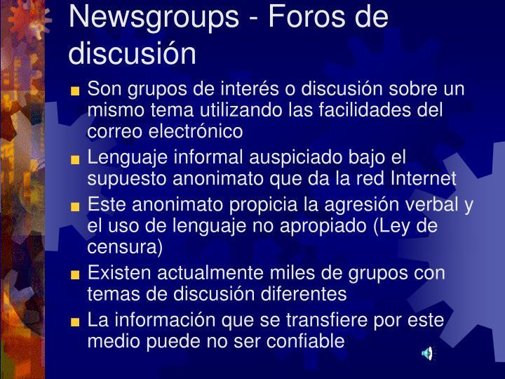 Newsgroups - Foros de discusión