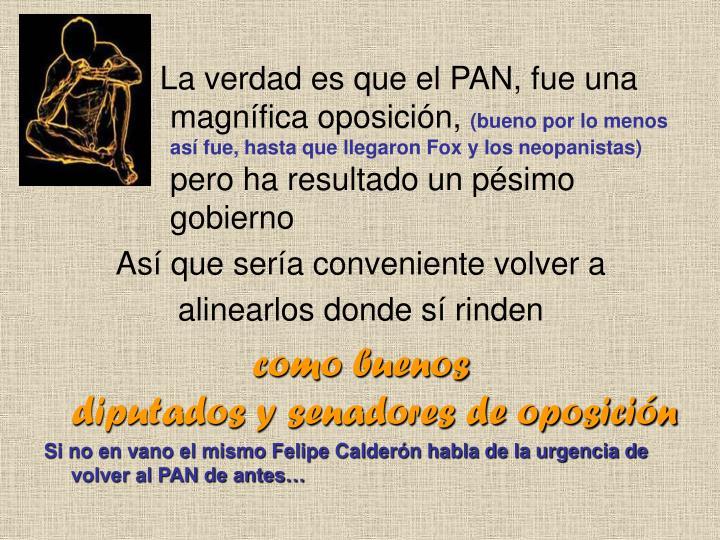 La verdad es que el PAN, fue una magnífica oposición,