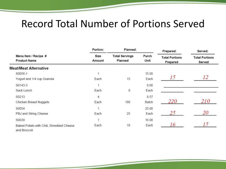 Record Total Number of Portions Served