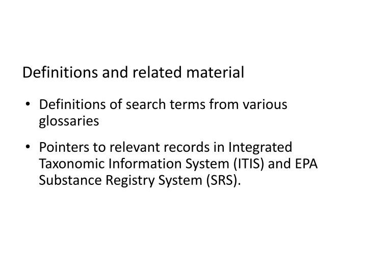 Definitions and related material