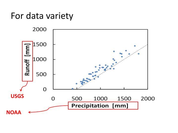 For data variety