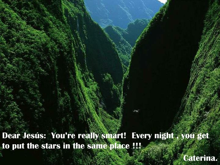 Dear Jesús:  You're really smart!  Every night , you get to put the stars in the same place !!!