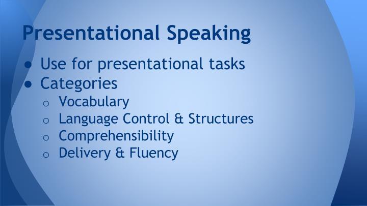 Presentational Speaking
