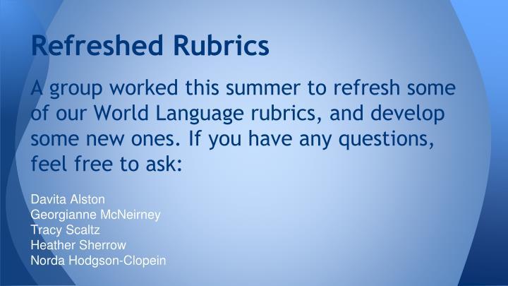 Refreshed rubrics1