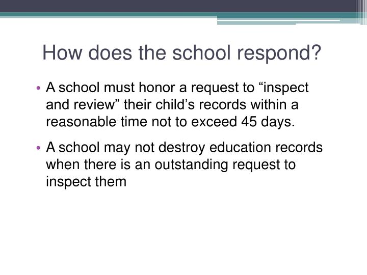 How does the school respond?