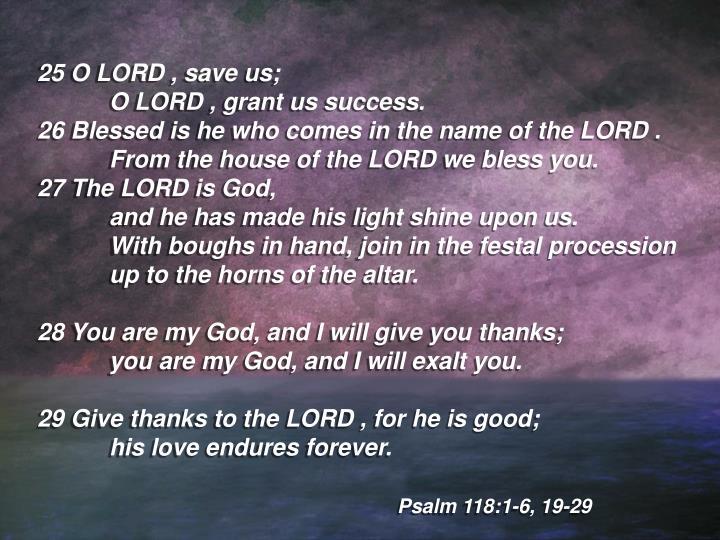 25 O LORD , save us;