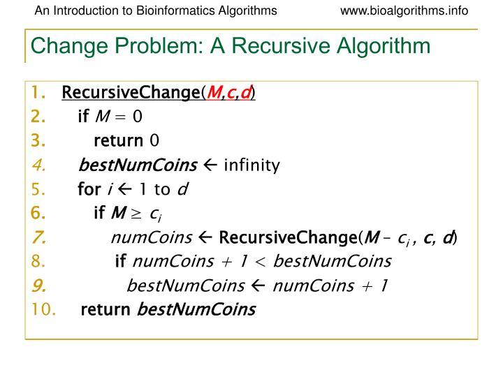 Change Problem: A Recursive Algorithm