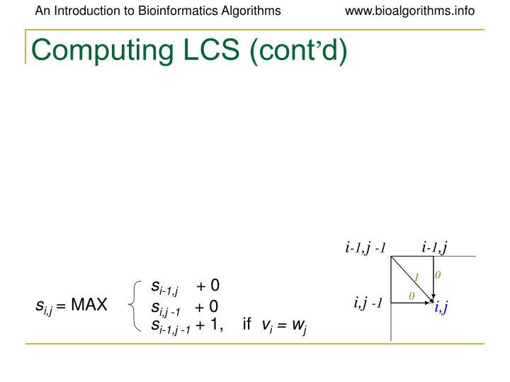 Computing LCS (cont