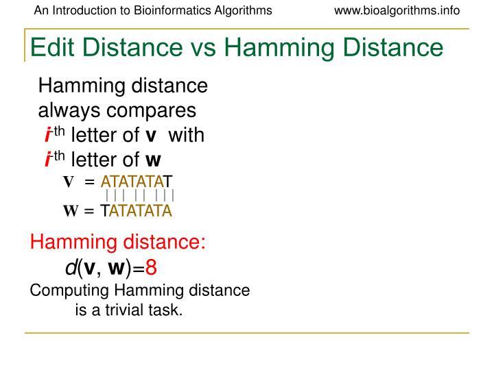Edit Distance vs Hamming Distance