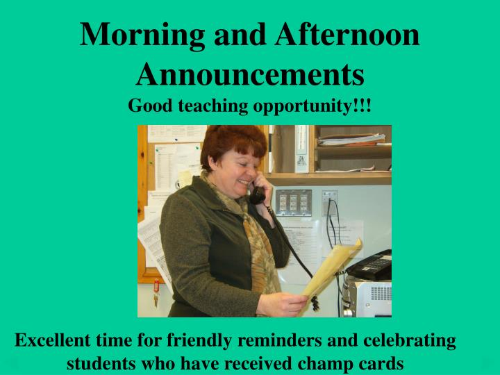 Morning and Afternoon Announcements