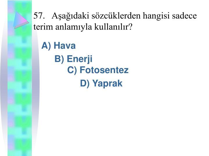 57.Aşağıdaki sözcüklerden hangisi sadece terim anlamıyla kullanılır?