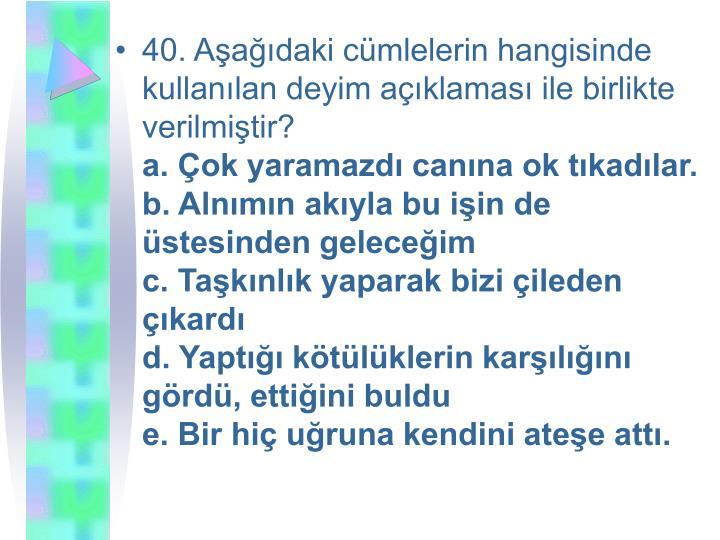 40. Aşağıdaki cümlelerin hangisinde kullanılan deyim açıklaması ile birlikte verilmiştir?