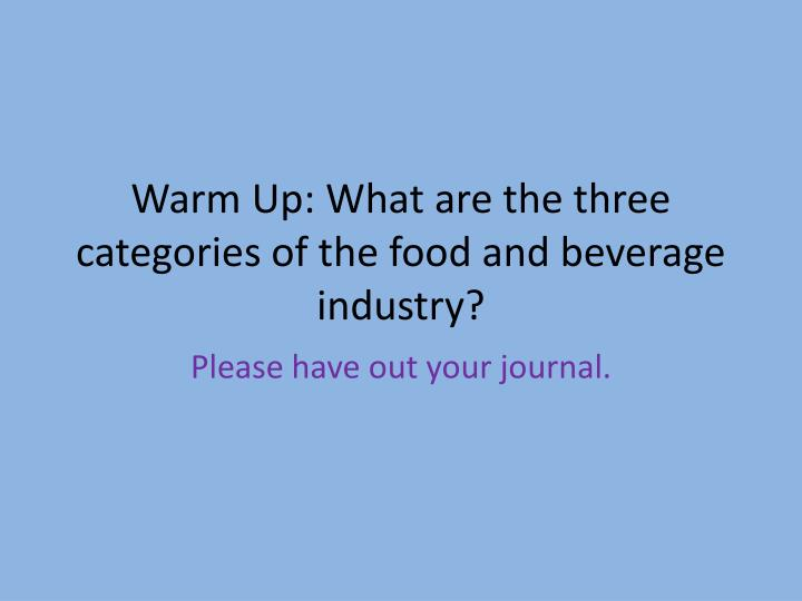 Warm up what are the three categories of the food and beverage industry