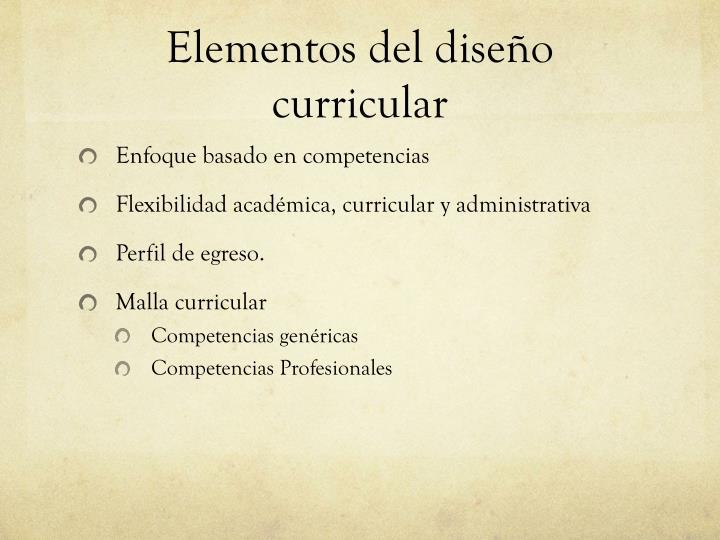 Elementos del diseño curricular