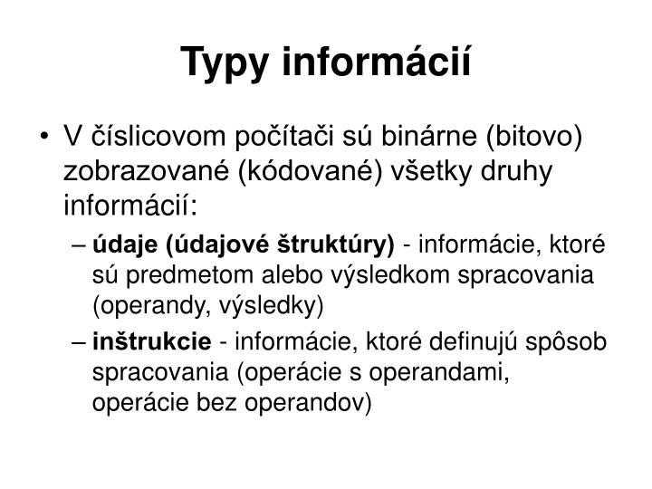 Typy informácií