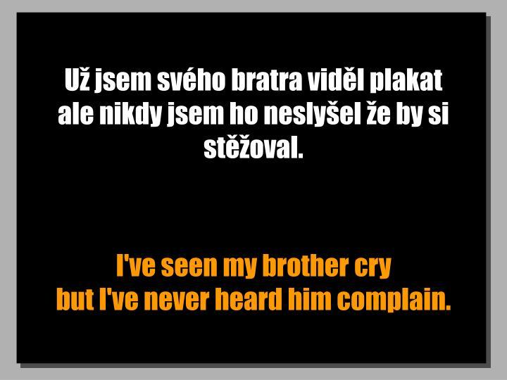 Už jsem svého bratra viděl plakat  ale nikdy jsem ho neslyšel že by si stěžoval.