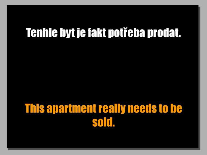 Tenhle byt je fakt potřeba prodat.