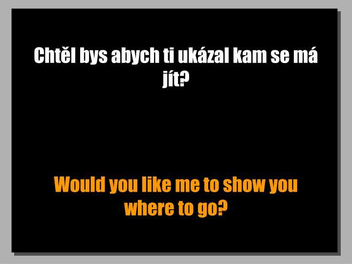 Chtěl bys abych ti ukázal kam se má jít?