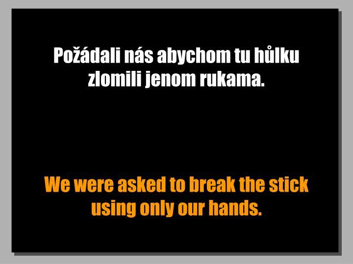 Požádali nás abychom tu hůlku zlomili jenom rukama.