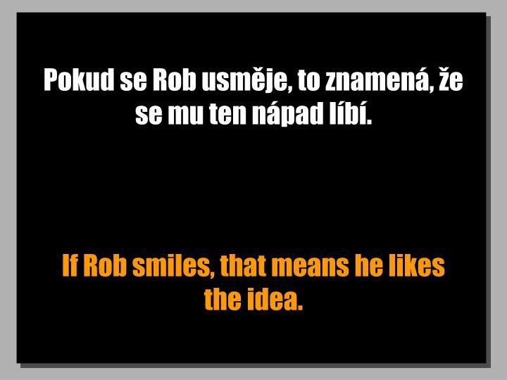 Pokud se Rob usměje, to znamená, že se mu ten nápad líbí.